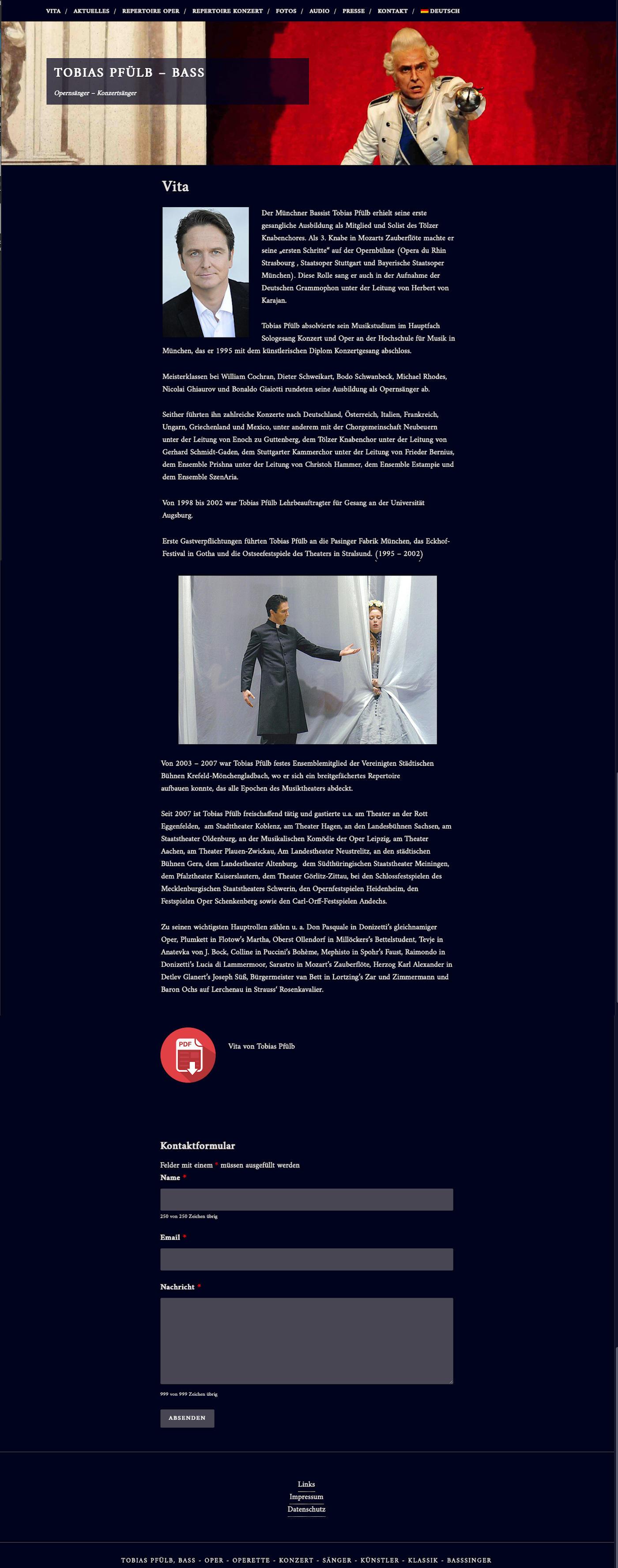 Webseite Tobias Pfuelb Opernsänger